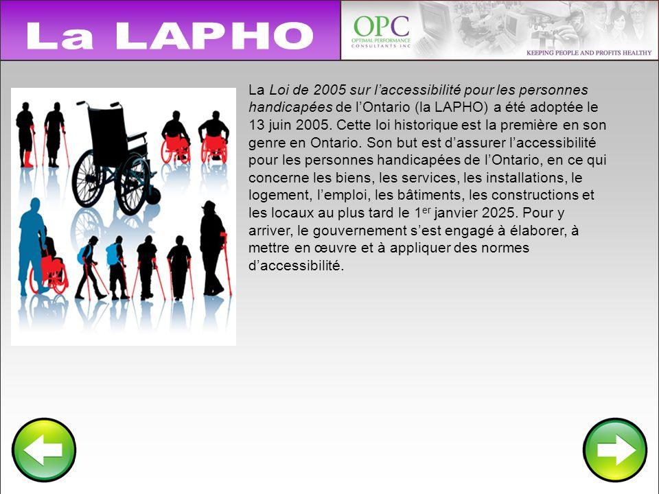 Lobjectif de la LAPHO Le but de la LAPHO est délaborer, de mettre en œuvre et de faire respecter des normes daccessibilité qui sappliquent aux principales activités de la vie quotidienne.