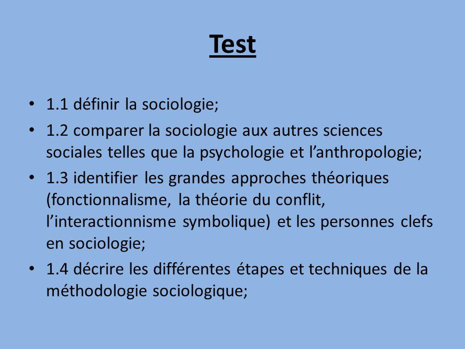 Test 1.1 définir la sociologie; 1.2 comparer la sociologie aux autres sciences sociales telles que la psychologie et lanthropologie; 1.3 identifier le