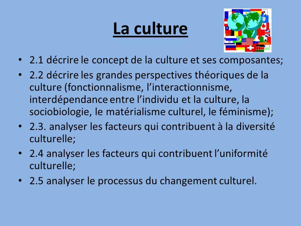 La culture 2.1 décrire le concept de la culture et ses composantes; 2.2 décrire les grandes perspectives théoriques de la culture (fonctionnalisme, li