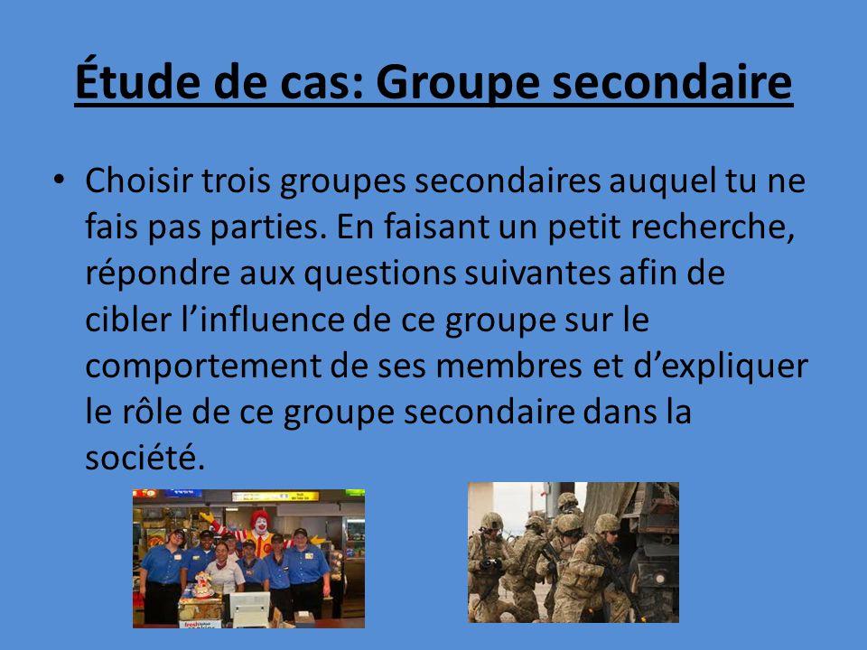 Étude de cas: Groupe secondaire Choisir trois groupes secondaires auquel tu ne fais pas parties. En faisant un petit recherche, répondre aux questions
