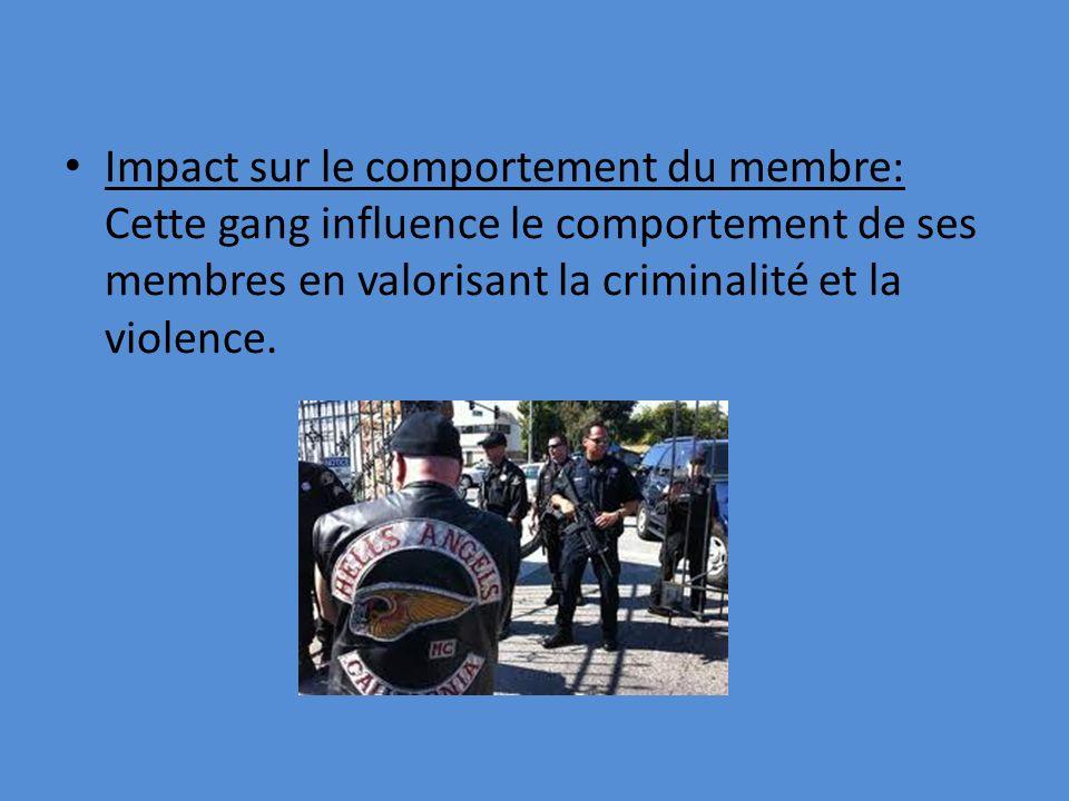 Impact sur le comportement du membre: Cette gang influence le comportement de ses membres en valorisant la criminalité et la violence.