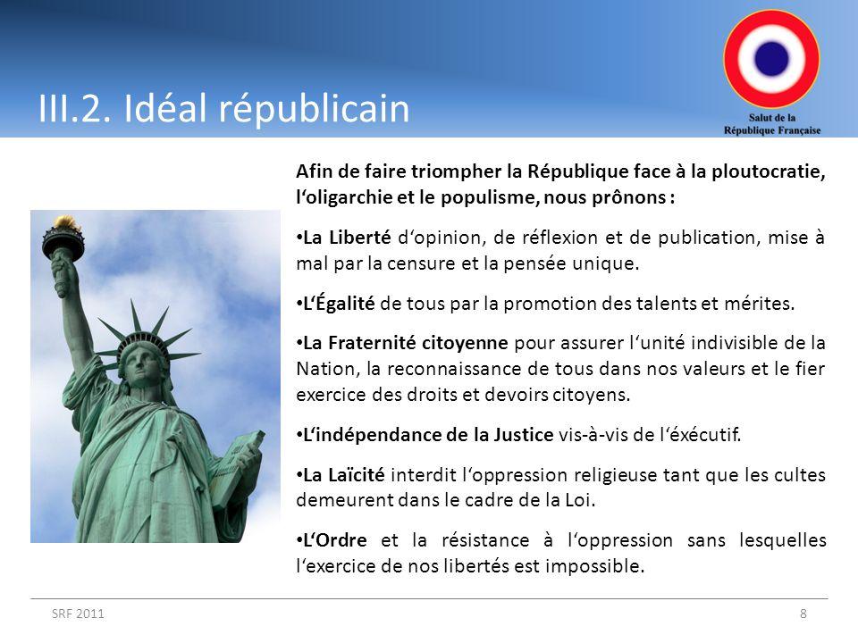 SRF 20118 Afin de faire triompher la République face à la ploutocratie, loligarchie et le populisme, nous prônons : La Liberté dopinion, de réflexion