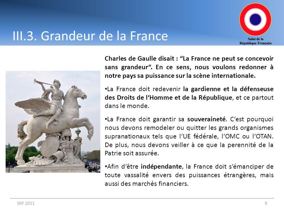 SRF 20119 Charles de Gaulle disait : La France ne peut se concevoir sans grandeur. En ce sens, nous voulons redonner à notre pays sa puissance sur la