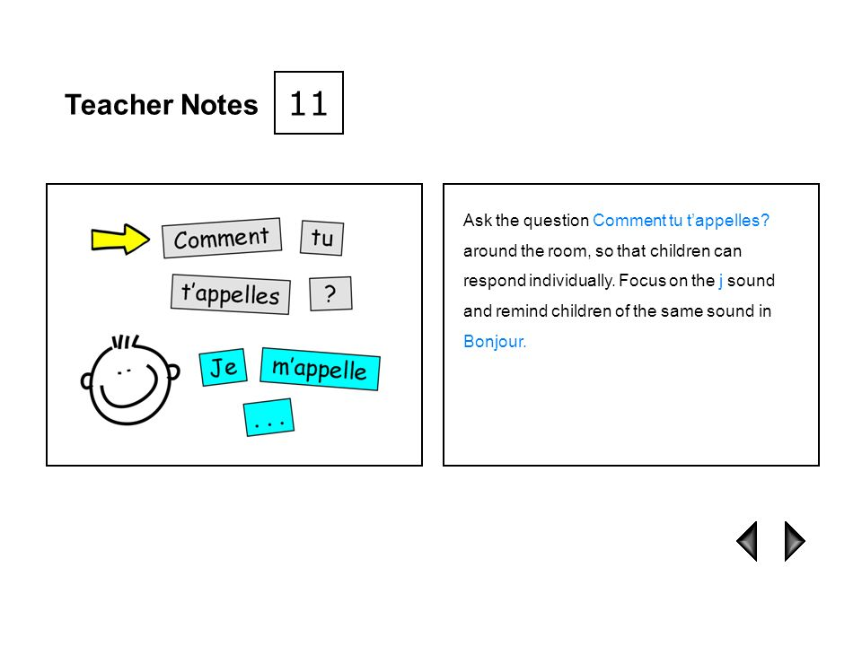 Teacher Notes 10 Play a guessing game: one child sits with their back to the class and asks Comment tu tappelles.