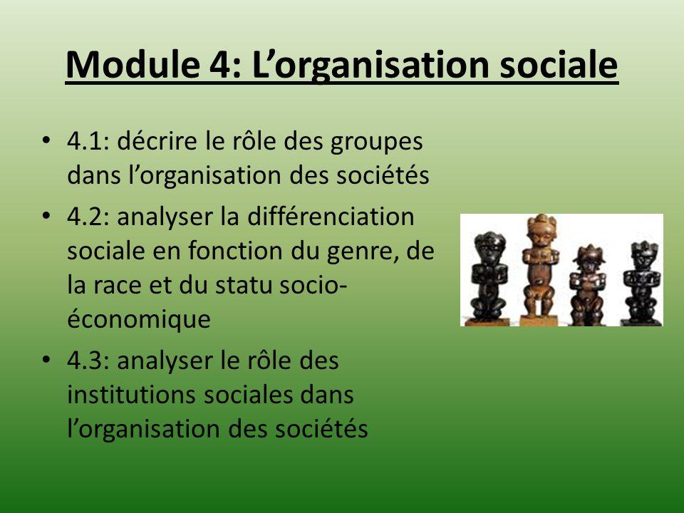 Module 4: Lorganisation sociale 4.1: décrire le rôle des groupes dans lorganisation des sociétés 4.2: analyser la différenciation sociale en fonction