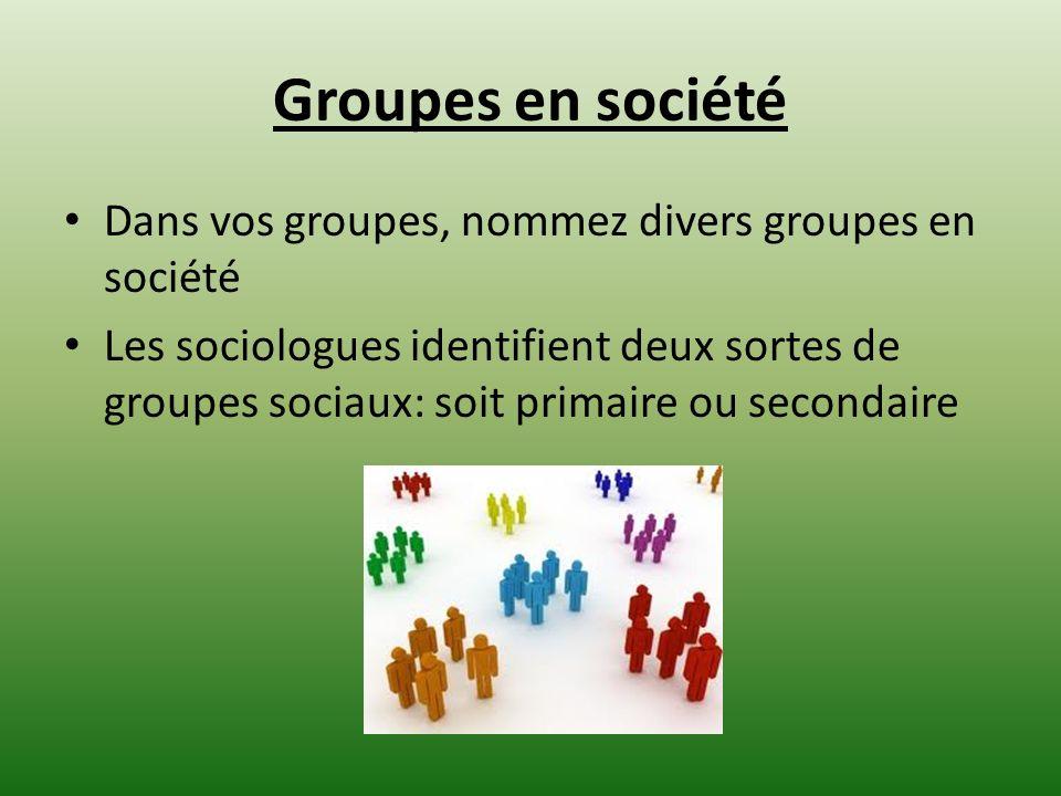 Groupes en société Dans vos groupes, nommez divers groupes en société Les sociologues identifient deux sortes de groupes sociaux: soit primaire ou sec