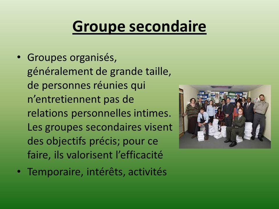 Groupe secondaire Groupes organisés, généralement de grande taille, de personnes réunies qui nentretiennent pas de relations personnelles intimes. Les