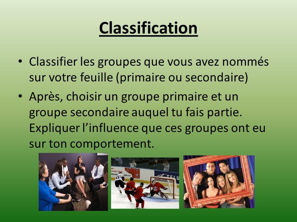 Classification Classifier les groupes que vous avez nommés sur votre feuille (primaire ou secondaire) Après, choisir un groupe primaire et un groupe s