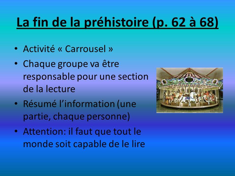La fin de la préhistoire (p. 62 à 68) Activité « Carrousel » Chaque groupe va être responsable pour une section de la lecture Résumé linformation (une
