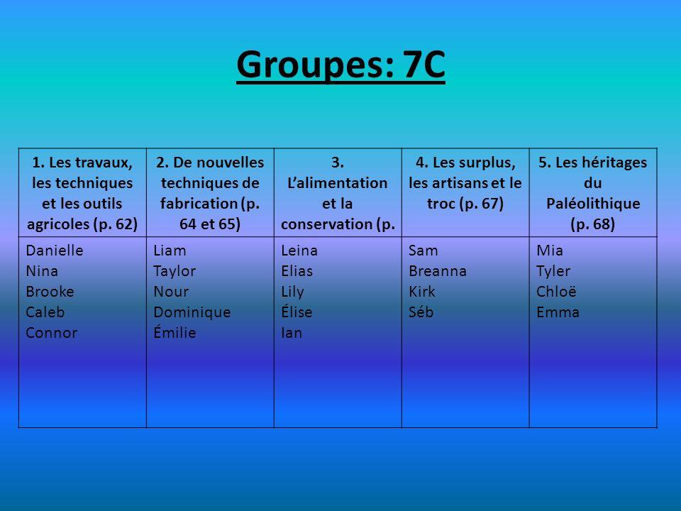 Groupes: 7C 1. Les travaux, les techniques et les outils agricoles (p. 62) 2. De nouvelles techniques de fabrication (p. 64 et 65) 3. Lalimentation et