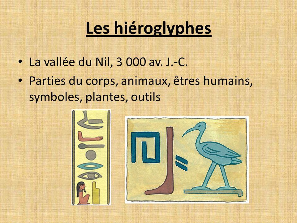 Les hiéroglyphes La vallée du Nil, 3 000 av.J.-C.
