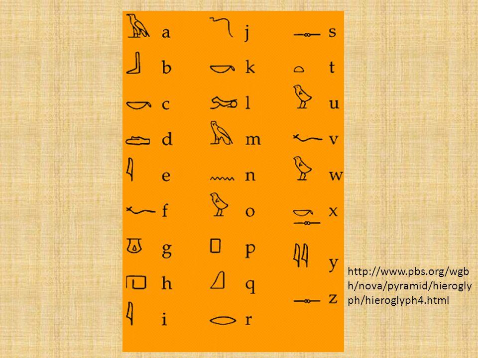 http://www.pbs.org/wgb h/nova/pyramid/hierogly ph/hieroglyph4.html