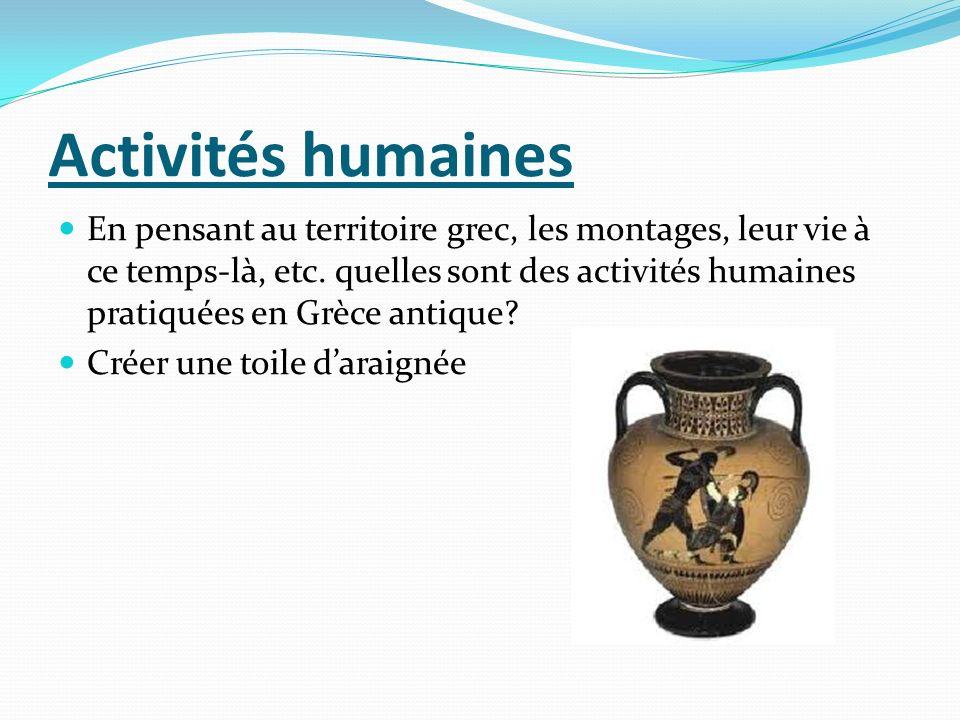 Activités humaines En pensant au territoire grec, les montages, leur vie à ce temps-là, etc. quelles sont des activités humaines pratiquées en Grèce a