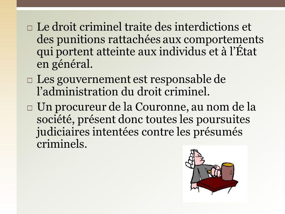 Au sens le plus large, lexpression «acte criminel» se définit comme une action, ou une omission qui est interdite par la loi.