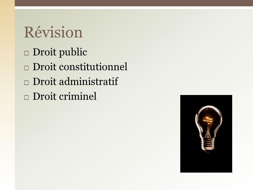 Droit public Droit constitutionnel Droit administratif Droit criminel Révision