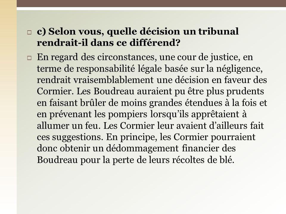 c) Selon vous, quelle décision un tribunal rendrait-il dans ce différend.