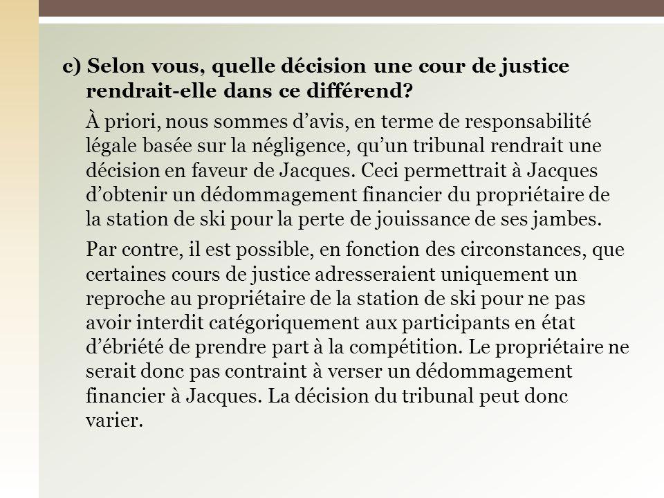 c) Selon vous, quelle décision une cour de justice rendrait-elle dans ce différend.