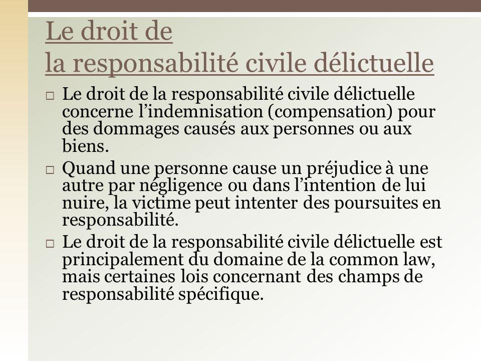 Le droit de la responsabilité civile délictuelle concerne lindemnisation (compensation) pour des dommages causés aux personnes ou aux biens.