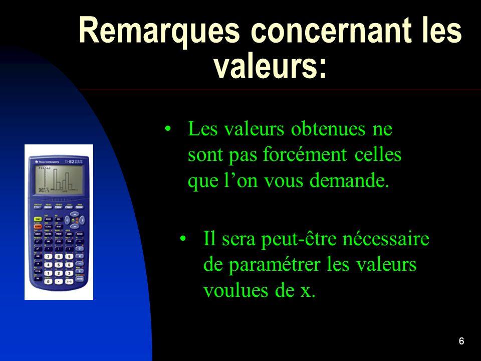 6 Remarques concernant les valeurs: Les valeurs obtenues ne sont pas forcément celles que lon vous demande. Il sera peut-être nécessaire de paramétrer