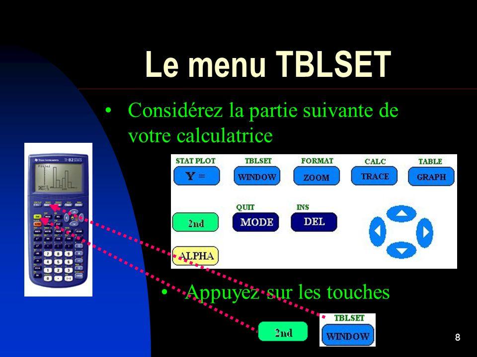8 Le menu TBLSET Considérez la partie suivante de votre calculatrice Appuyez sur les touches