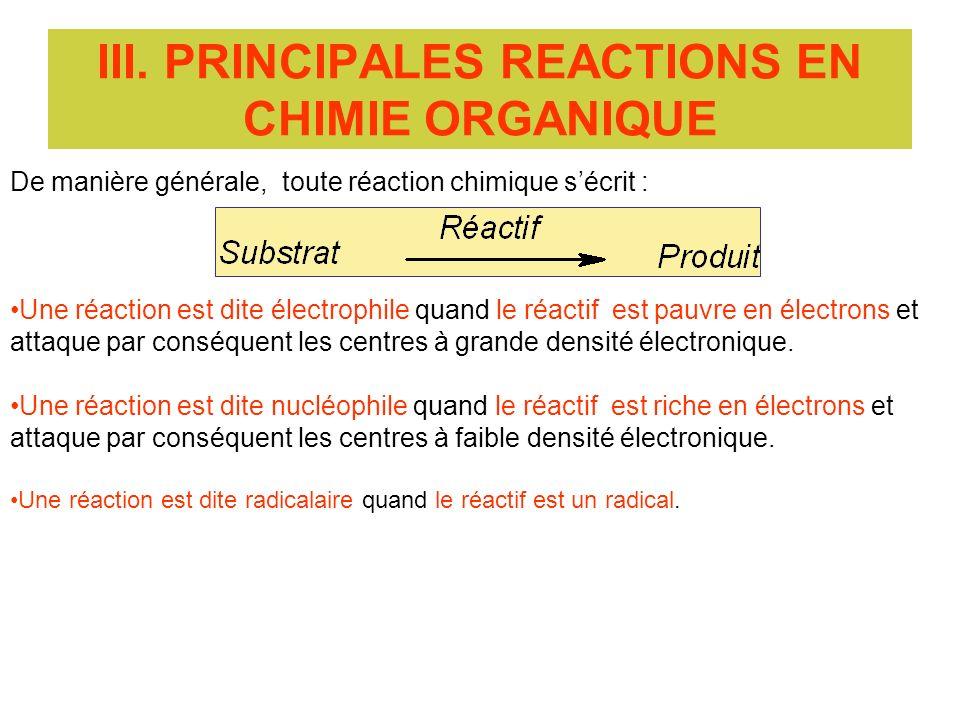 III. PRINCIPALES REACTIONS EN CHIMIE ORGANIQUE De manière générale, toute réaction chimique sécrit : Une réaction est dite électrophile quand le réact