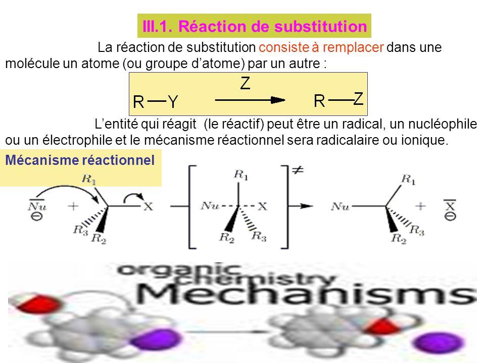 III.1. Réaction de substitution La réaction de substitution consiste à remplacer dans une molécule un atome (ou groupe datome) par un autre : Lentité