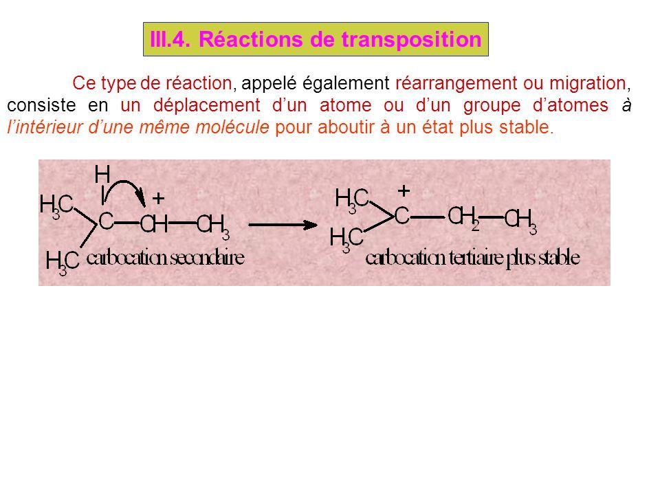 III.4. Réactions de transposition Ce type de réaction, appelé également réarrangement ou migration, consiste en un déplacement dun atome ou dun groupe