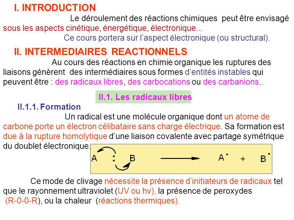 I. INTRODUCTION Le déroulement des réactions chimiques peut être envisagé sous les aspects cinétique, énergétique, électronique... Ce cours portera su