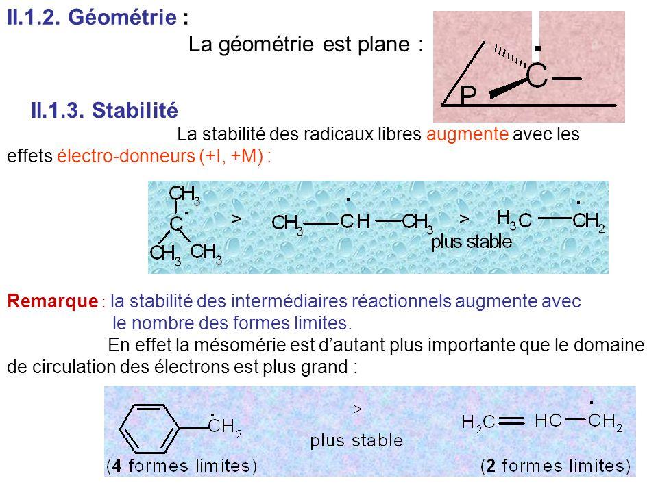 II.1.2. Géométrie : La géométrie est plane : II.1.3. Stabilité La stabilité des radicaux libres augmente avec les effets électro-donneurs (+I, +M) : R
