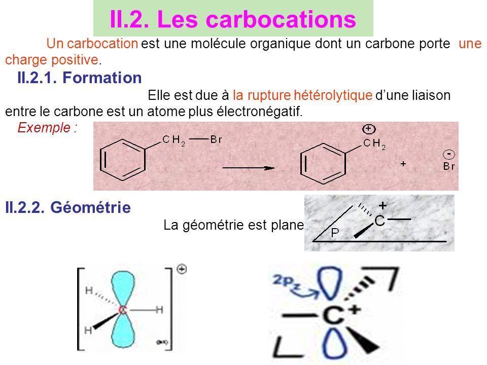 II.2. Les carbocations Un carbocation est une molécule organique dont un carbone porte une charge positive. II.2.1. Formation Elle est due à la ruptur