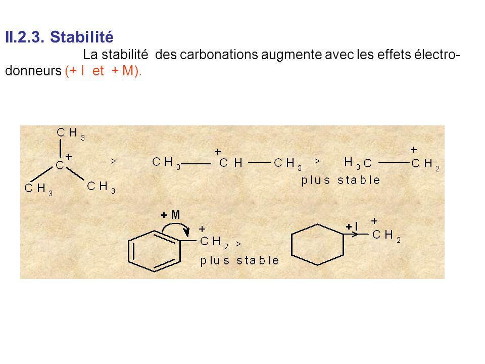 II.2.3. Stabilité La stabilité des carbonations augmente avec les effets électro- donneurs (+ I et + M).