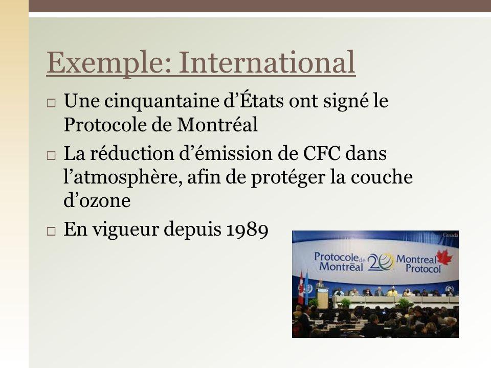 Une cinquantaine dÉtats ont signé le Protocole de Montréal La réduction démission de CFC dans latmosphère, afin de protéger la couche dozone En vigueu