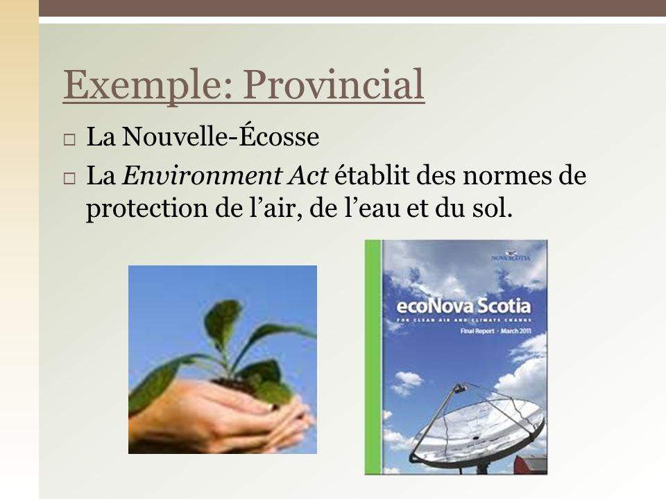 La Nouvelle-Écosse La Environment Act établit des normes de protection de lair, de leau et du sol. Exemple: Provincial