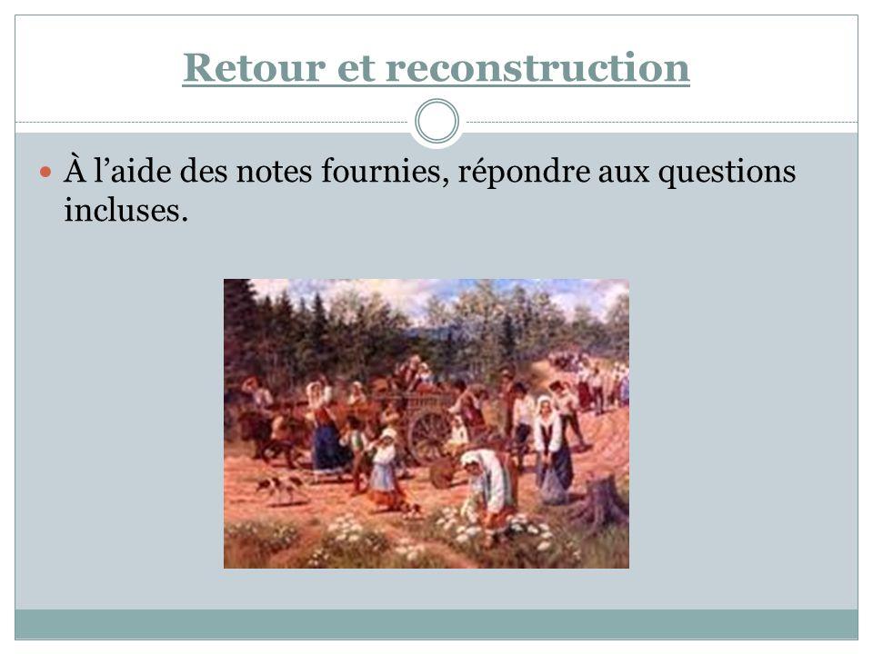 Retour et reconstruction À laide des notes fournies, répondre aux questions incluses.