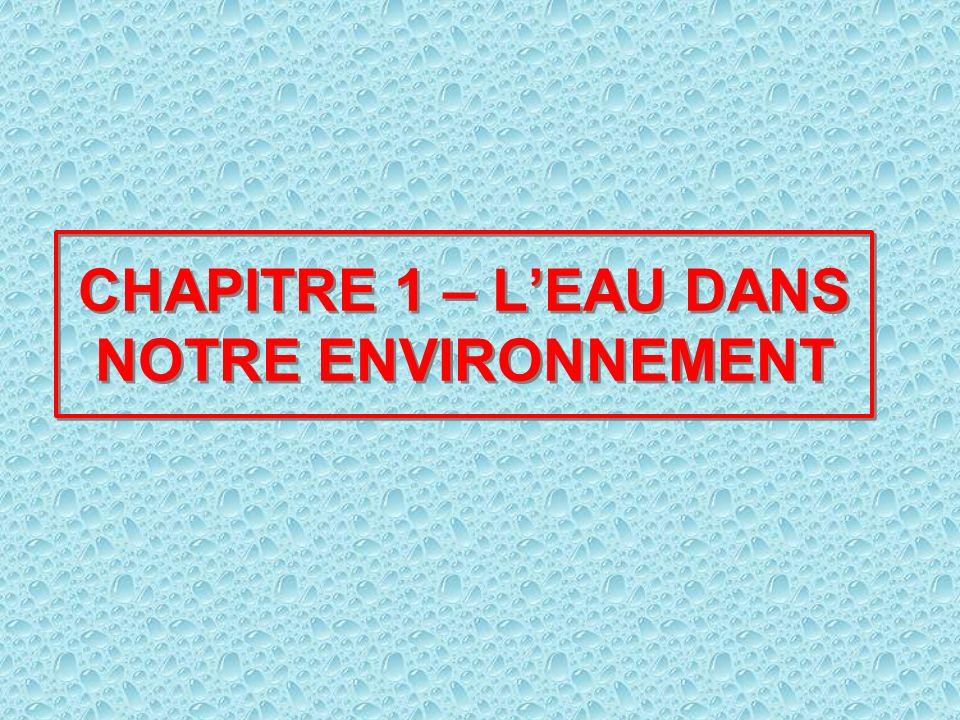 CHAPITRE 1 – LEAU DANS NOTRE ENVIRONNEMENT