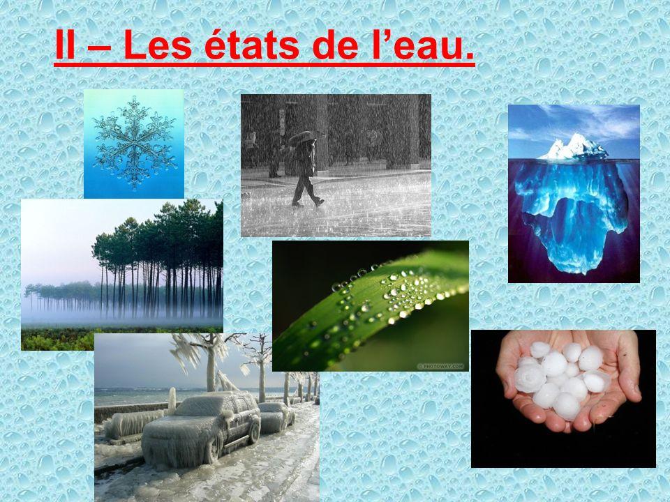 Leau se répartit de la manière suivante: Mers et Océans Glaces polaires et glaciers Eaux souterraines Lacs et rivières Atmosphère 97,2% 2,15%0,63% 0,0