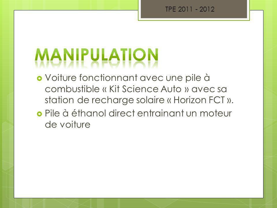 Voiture fonctionnant avec une pile à combustible « Kit Science Auto » avec sa station de recharge solaire « Horizon FCT ». Pile à éthanol direct entra