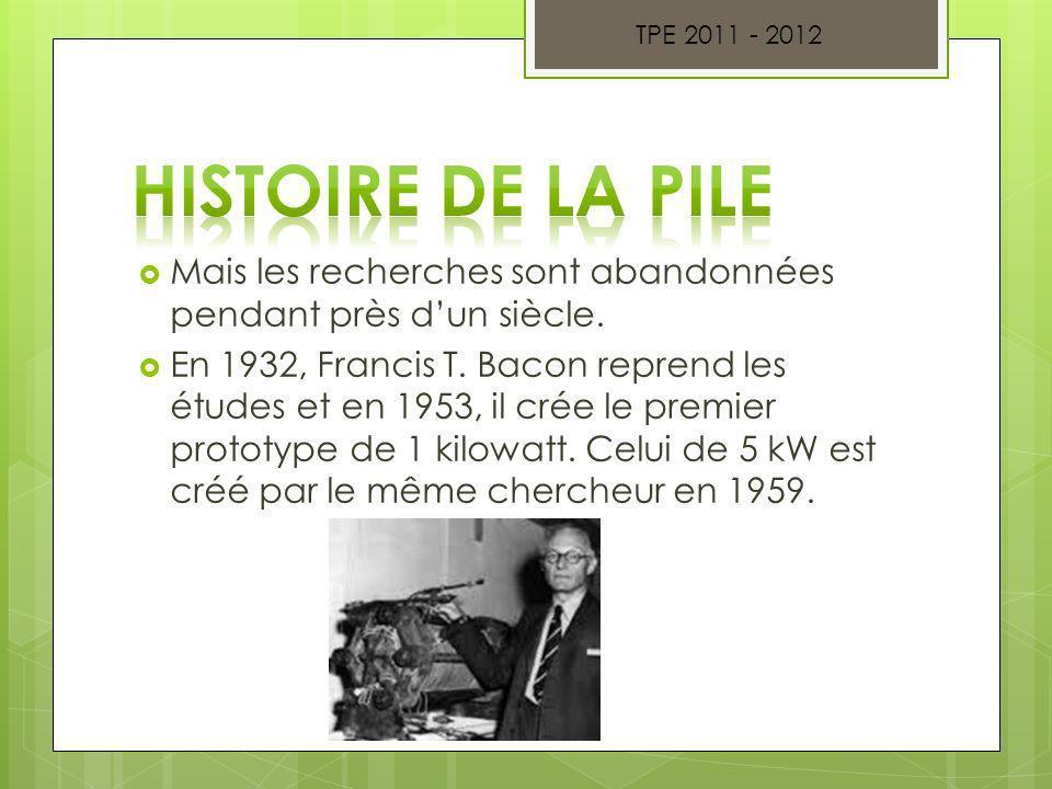 Mais les recherches sont abandonnées pendant près dun siècle. En 1932, Francis T. Bacon reprend les études et en 1953, il crée le premier prototype de