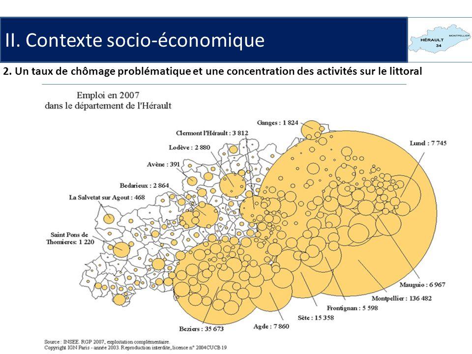 II. Contexte socio-économique 2. Un taux de chômage problématique et une concentration des activités sur le littoral