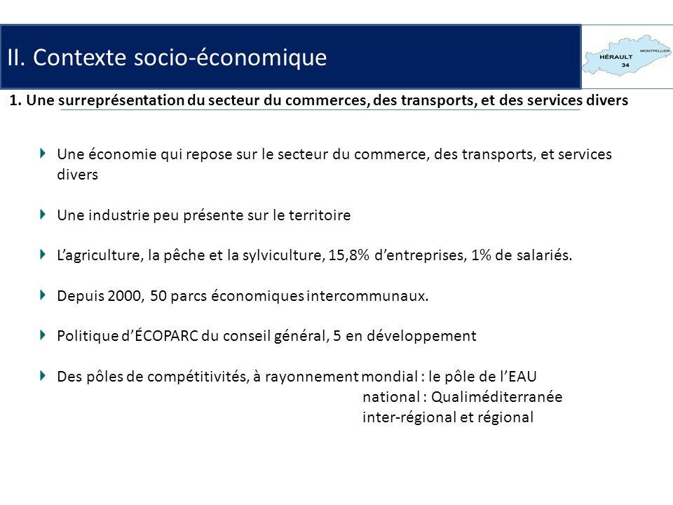 1. Une surreprésentation du secteur du commerces, des transports, et des services divers Une économie qui repose sur le secteur du commerce, des trans