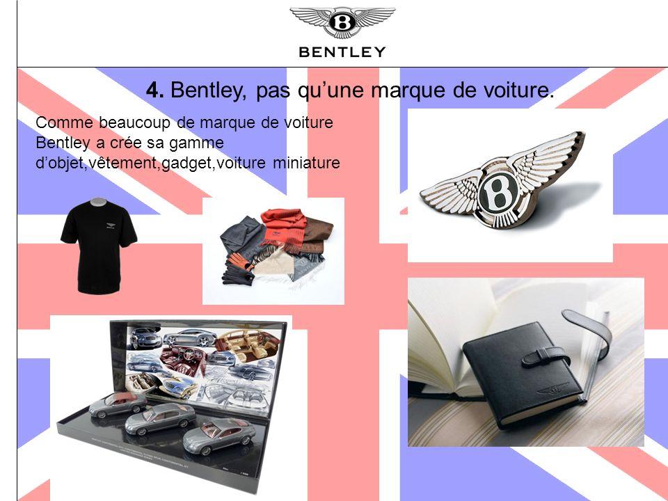 4. Bentley, pas quune marque de voiture. Comme beaucoup de marque de voiture Bentley a crée sa gamme dobjet,vêtement,gadget,voiture miniature