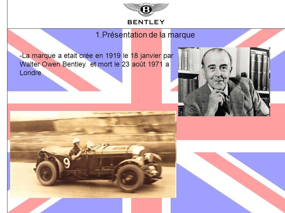 1.Présentation de la marque -La marque a etait crée en 1919 le 18 janvier par Walter Owen Bentley et mort le 23 août 1971 a Londre