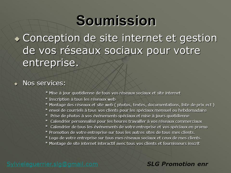 Soumission Conception de site internet et gestion de vos réseaux sociaux pour votre entreprise.