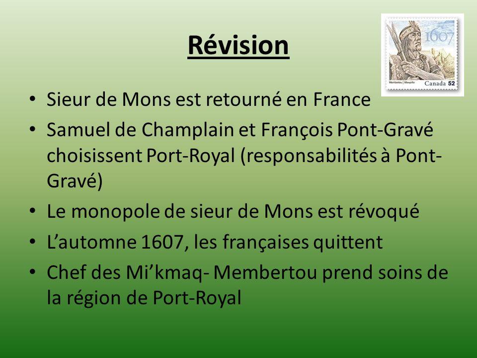 Révision Sieur de Mons est retourné en France Samuel de Champlain et François Pont-Gravé choisissent Port-Royal (responsabilités à Pont- Gravé) Le monopole de sieur de Mons est révoqué Lautomne 1607, les françaises quittent Chef des Mikmaq- Membertou prend soins de la région de Port-Royal