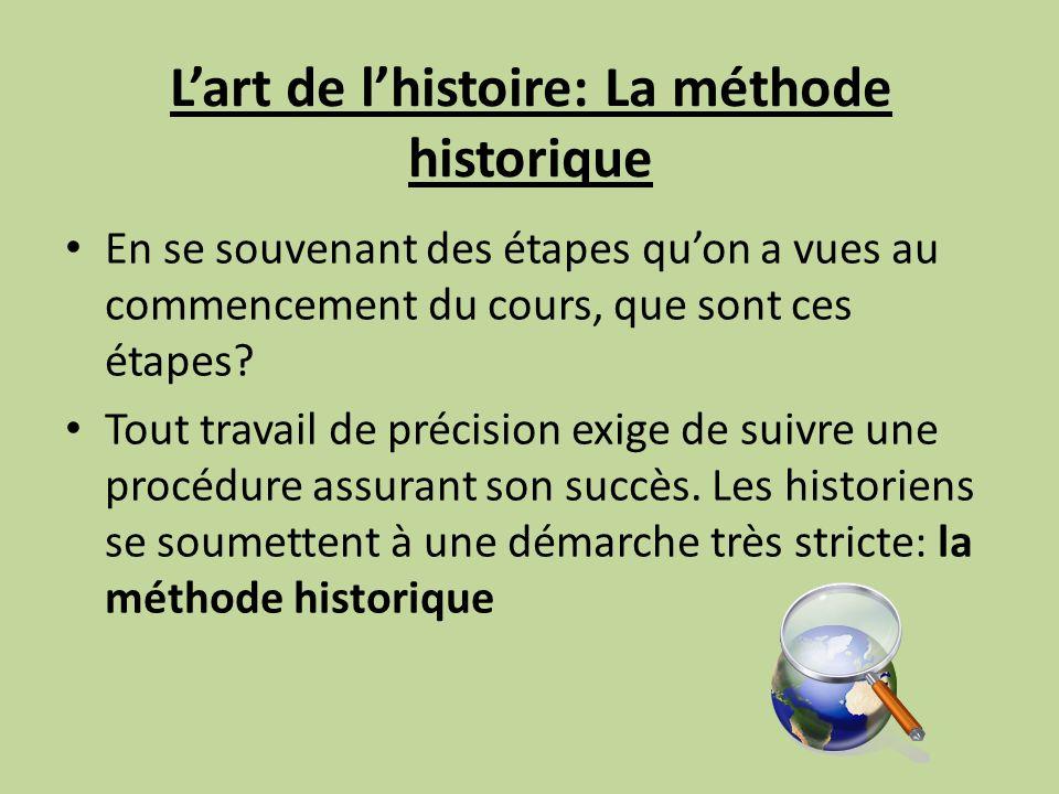 Lart de lhistoire: La méthode historique En se souvenant des étapes quon a vues au commencement du cours, que sont ces étapes? Tout travail de précisi