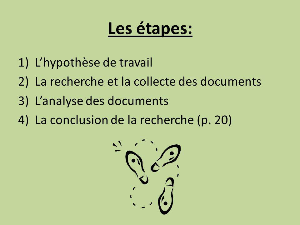 Les étapes: 1)Lhypothèse de travail 2)La recherche et la collecte des documents 3)Lanalyse des documents 4)La conclusion de la recherche (p. 20)
