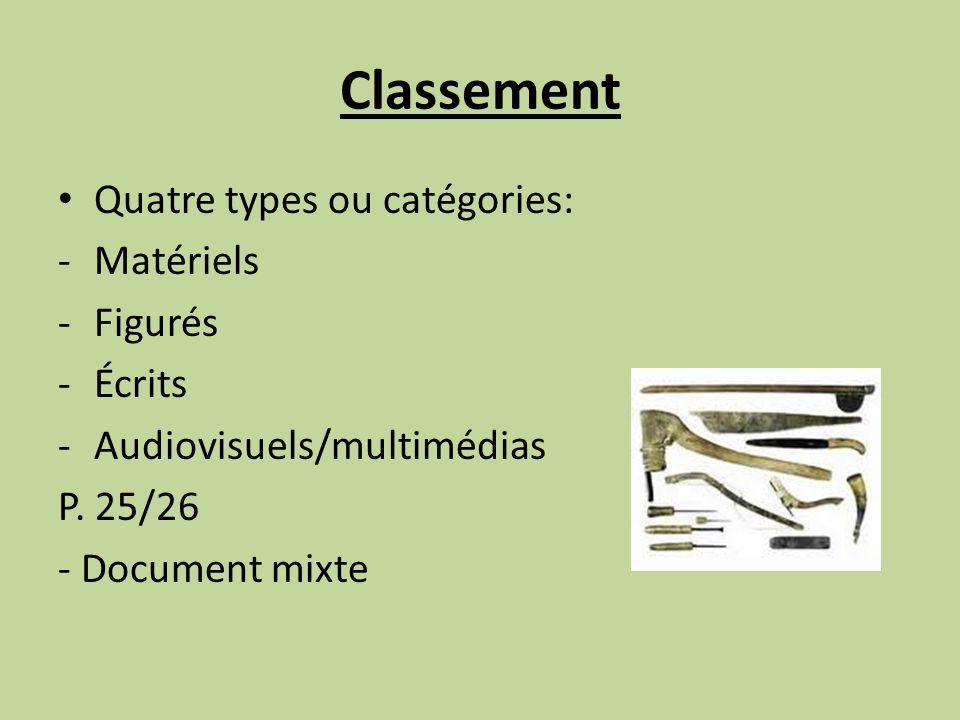 Classement Quatre types ou catégories: -Matériels -Figurés -Écrits -Audiovisuels/multimédias P. 25/26 - Document mixte