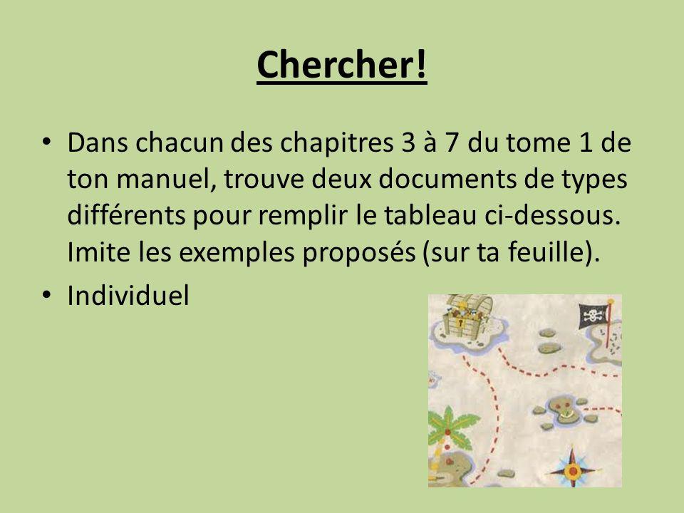 Chercher! Dans chacun des chapitres 3 à 7 du tome 1 de ton manuel, trouve deux documents de types différents pour remplir le tableau ci-dessous. Imite
