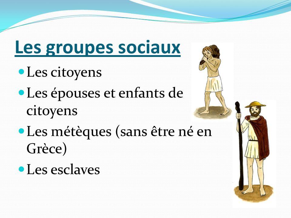 Les groupes sociaux Les citoyens Les épouses et enfants de citoyens Les métèques (sans être né en Grèce) Les esclaves