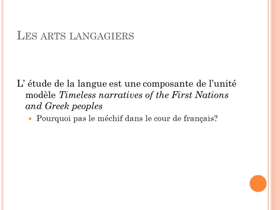 L ES ARTS LANGAGIERS L étude de la langue est une composante de lunité modèle Timeless narratives of the First Nations and Greek peoples Pourquoi pas
